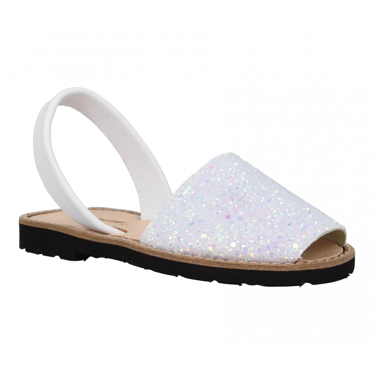 Sandales MINORQUINES Avarca glitter Enfant Blanc