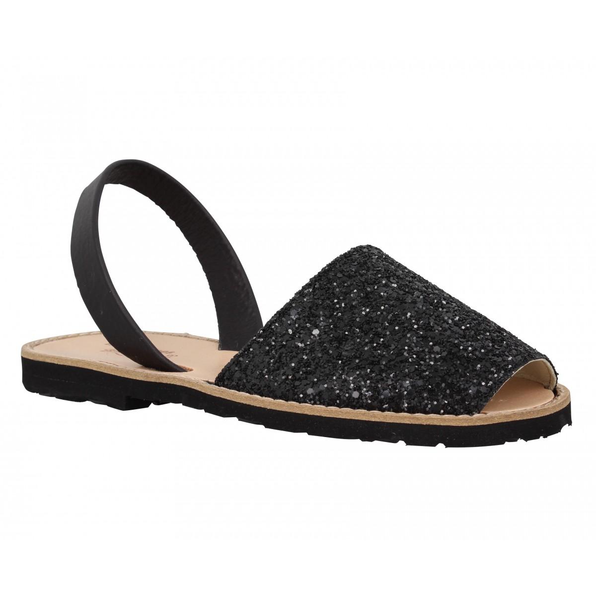 Nu-pieds MINORQUINES Avarca glitter Femme Noir