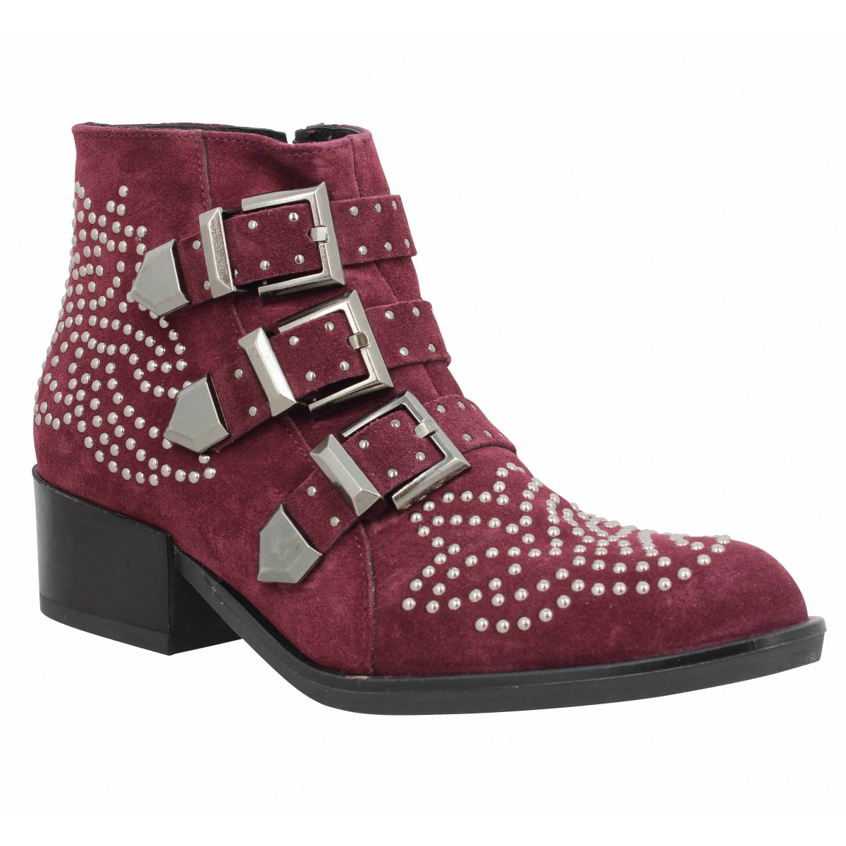 Bottines MORENA GABBRIELLI 747 velours Femme Bordeaux