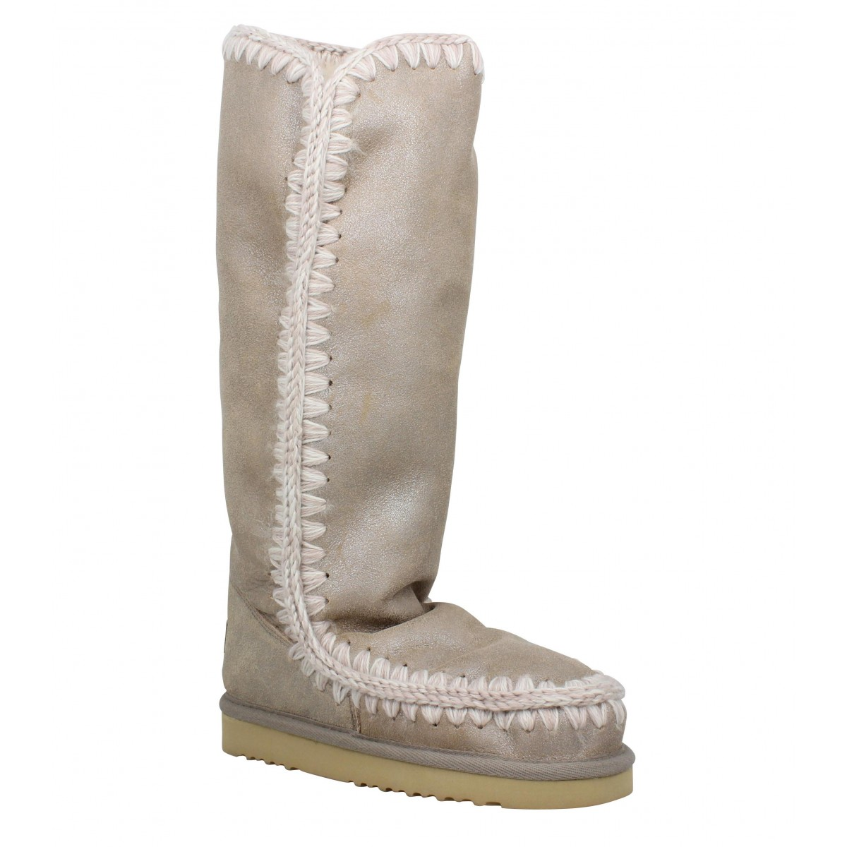 Bottes MOU Eskimo Boot Tall 40 velours Femme Argent Metal