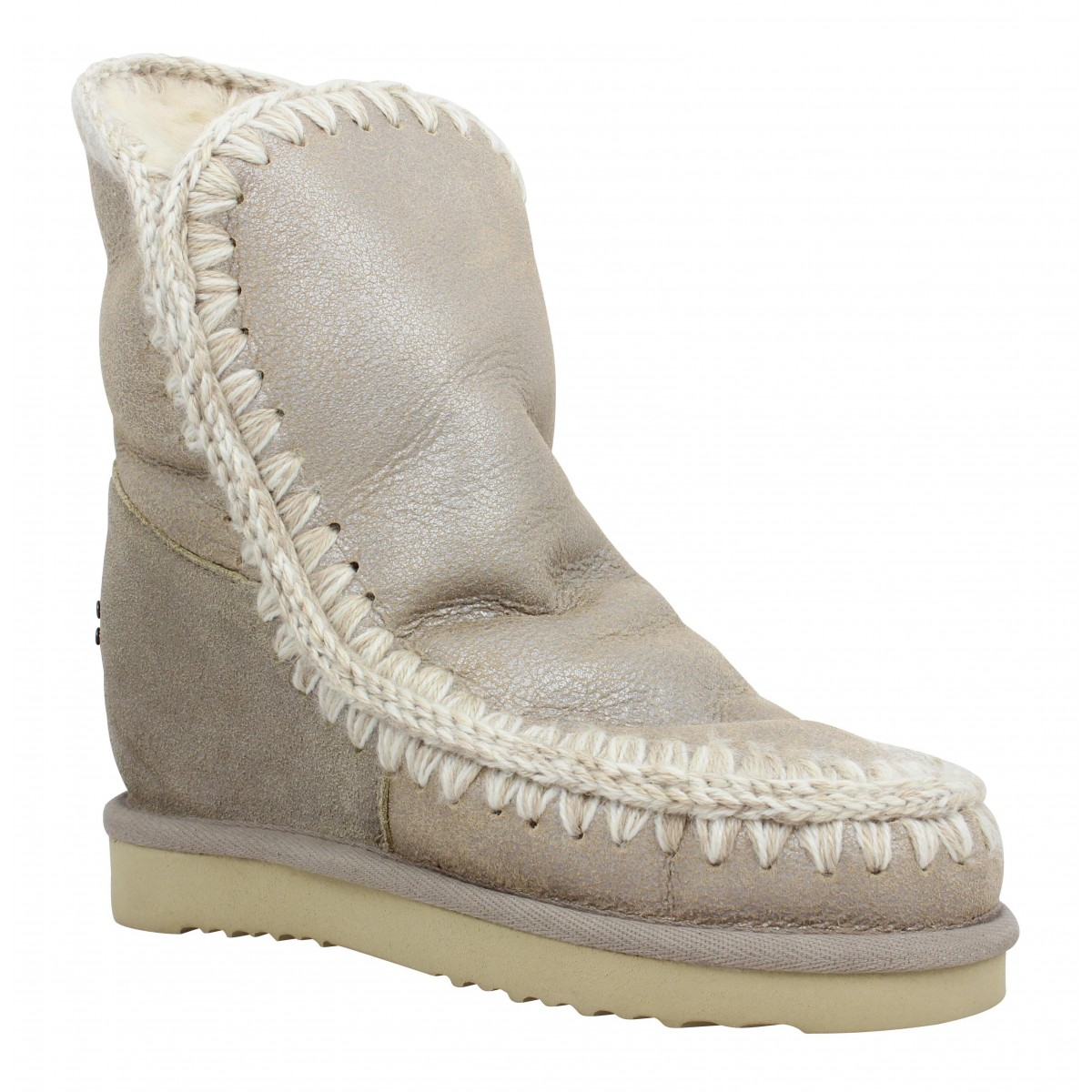Bottes MOU Eskimo Wedge Short velours Femme Metal