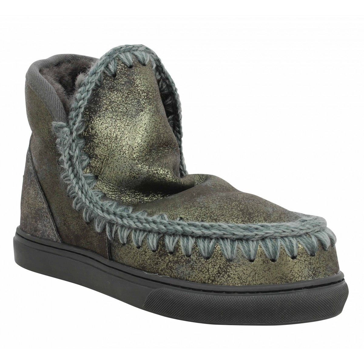 Bottines MOU Mini Eskimo Sneaker velours Femme Charcoal