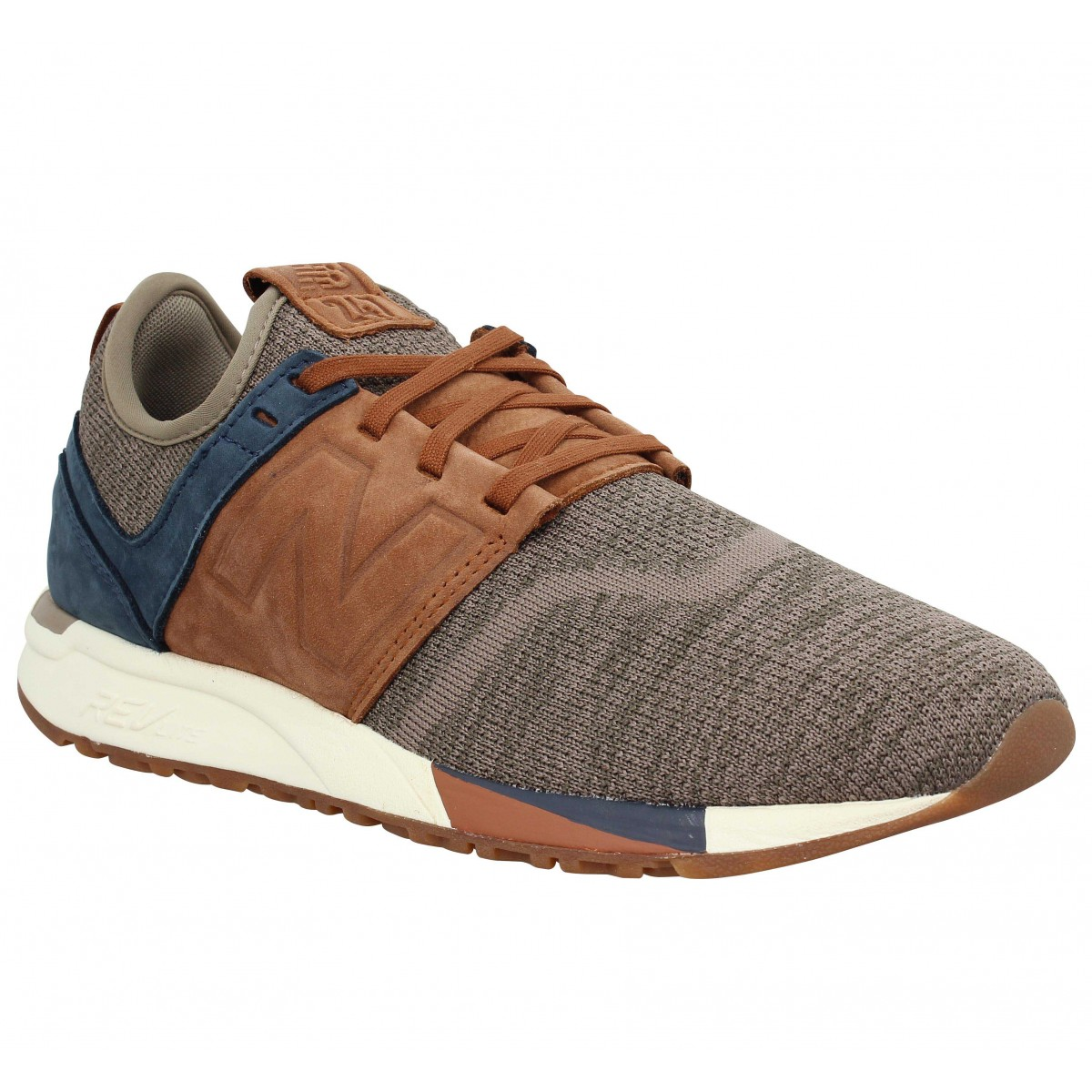 Baskets NEW BALANCE 247 Luxe velours toile Homme Brown
