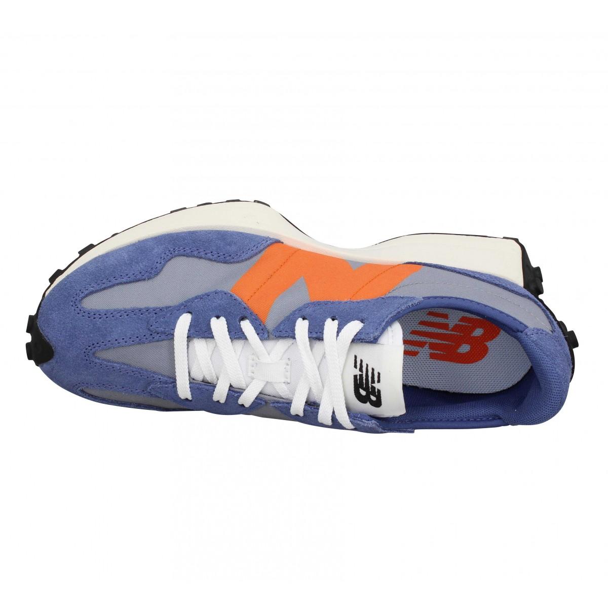 Chaussures New balance 327 velours toile femme bleu orange femme ...
