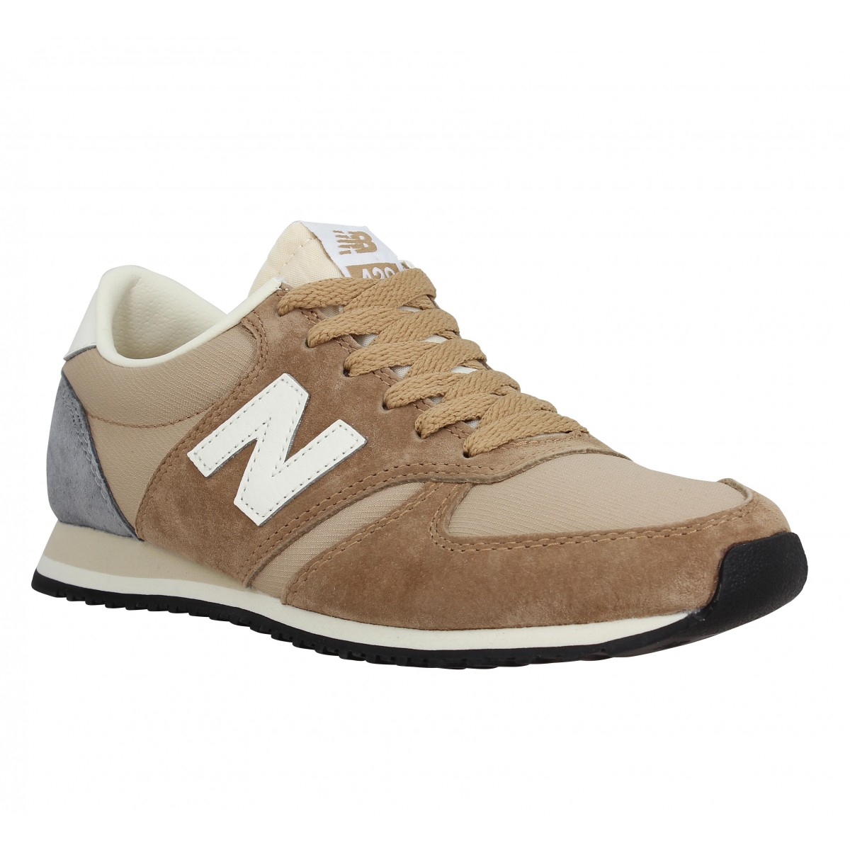Baskets NEW BALANCE 420 velours + toile Femme Beige + Gris