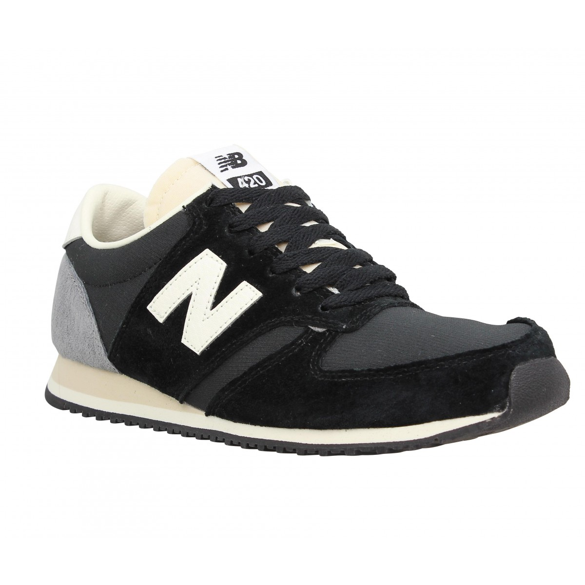 new balance 420 velours toile femme noir blanc fanny chaussures. Black Bedroom Furniture Sets. Home Design Ideas