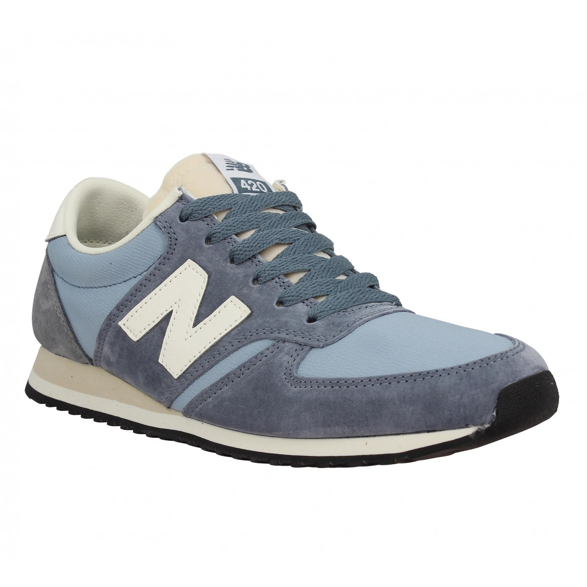 Baskets NEW BALANCE 420 velours + toile Homme Bleu + Gris