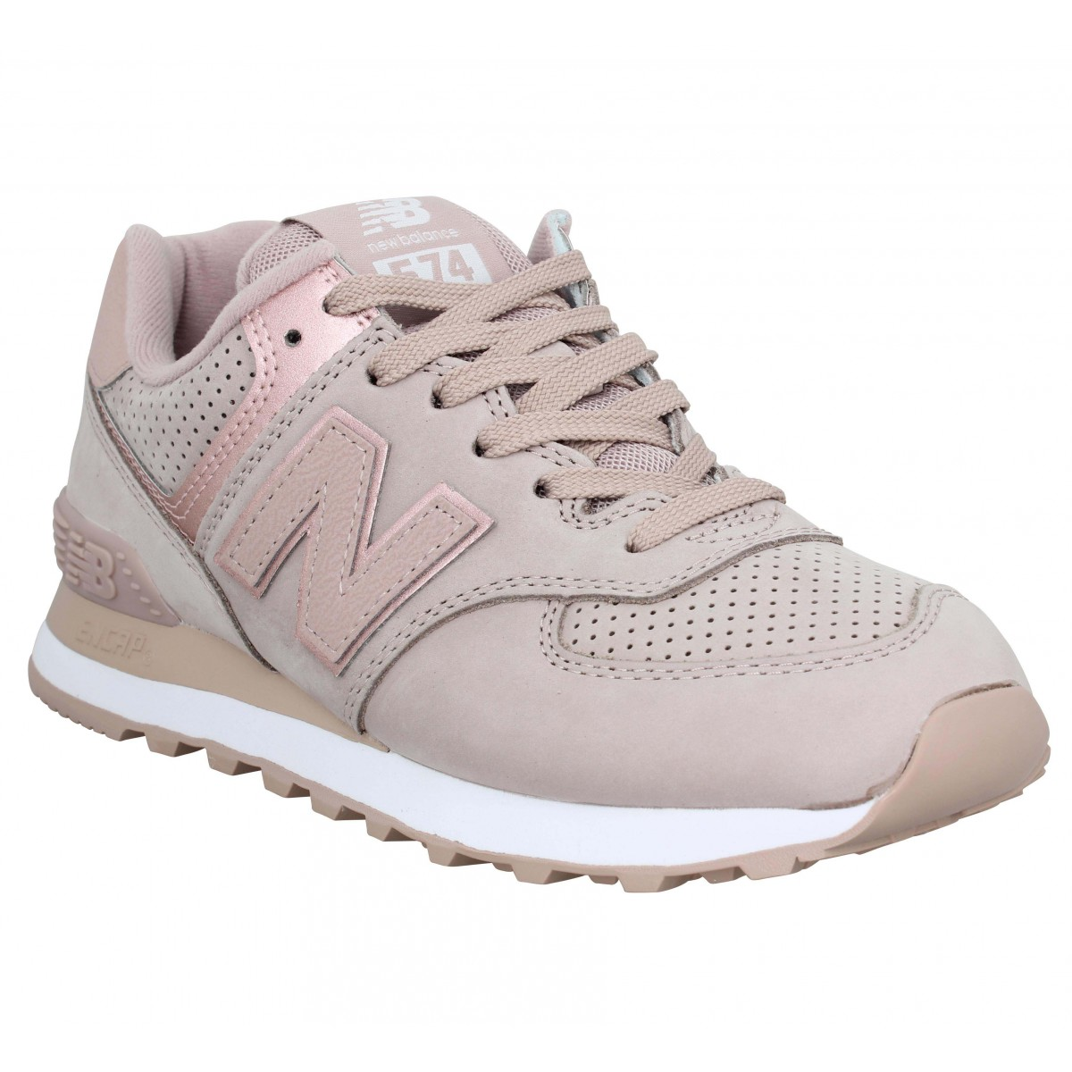 Baskets NEW BALANCE 574 nubuck Femme Rose