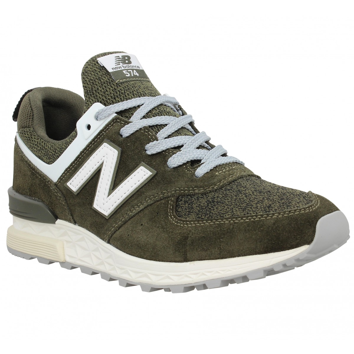 Baskets NEW BALANCE 574 Sport velours toile Homme Kaki