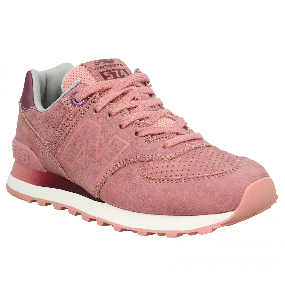 Baskets NEW BALANCE 574 velours Femme Peach