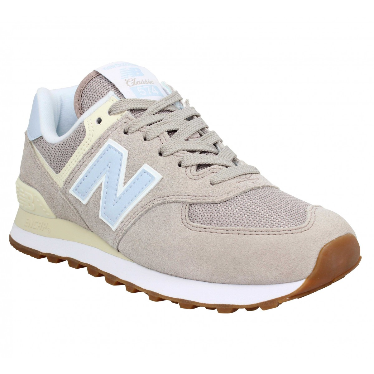 NEW BALANCE 574 velours Femme Rose Clair