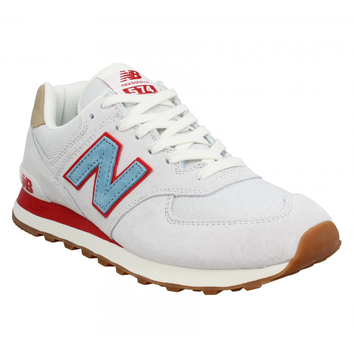 énorme réduction 168ac 15fc6 NEW BALANCE 574 velours Homme Blanc