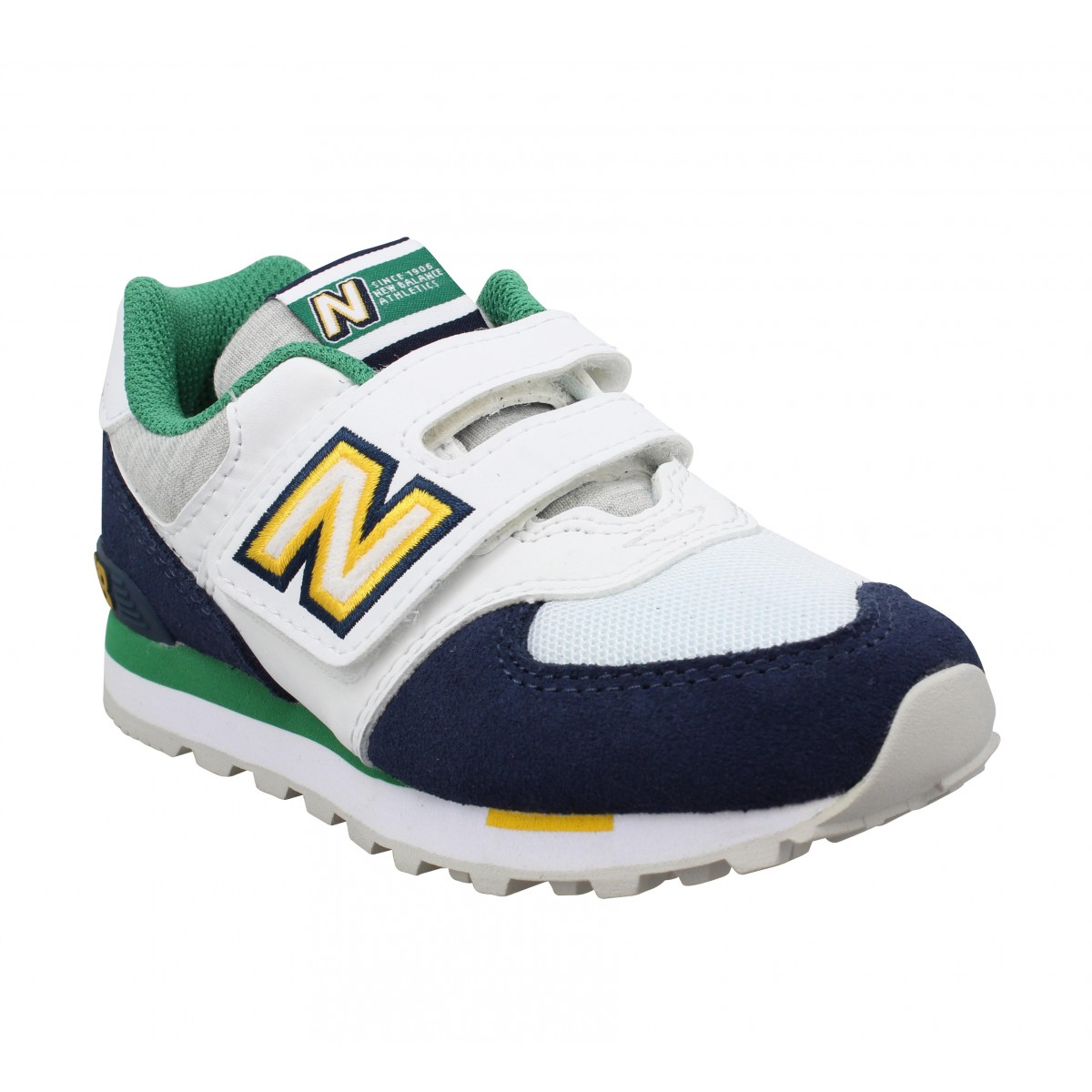 Baskets NEW BALANCE 574 velours toile Enfant Marine Blanc
