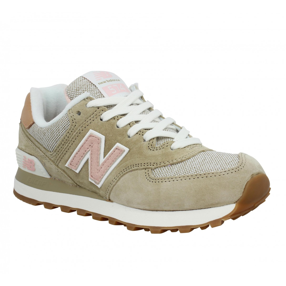 Baskets NEW BALANCE 574 velours + toile Femme Beige