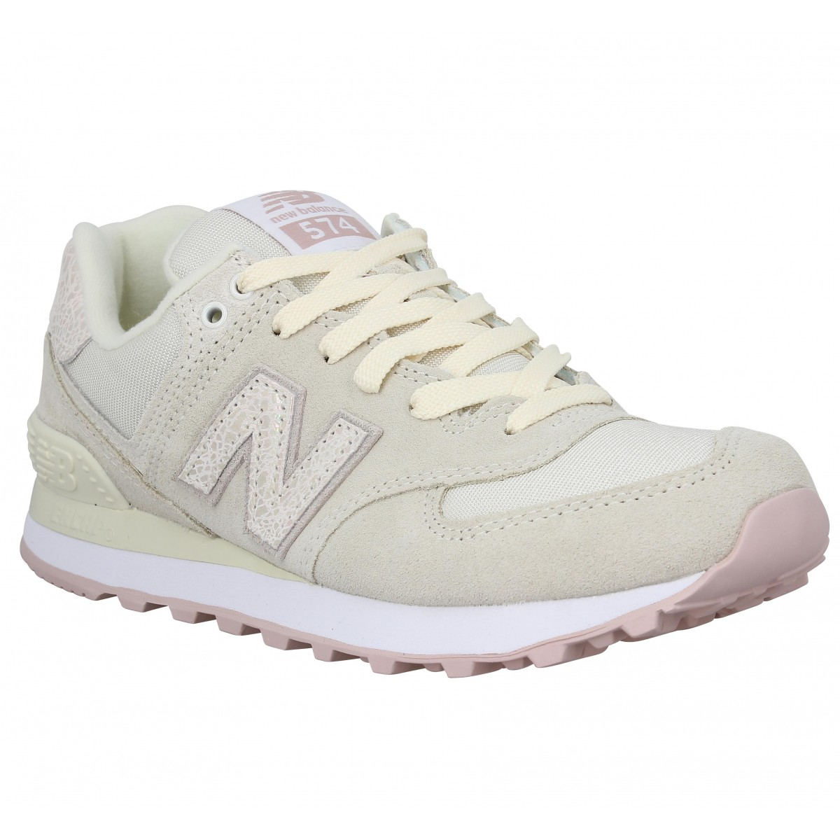 Baskets NEW BALANCE 574 velours toile Femme Off White