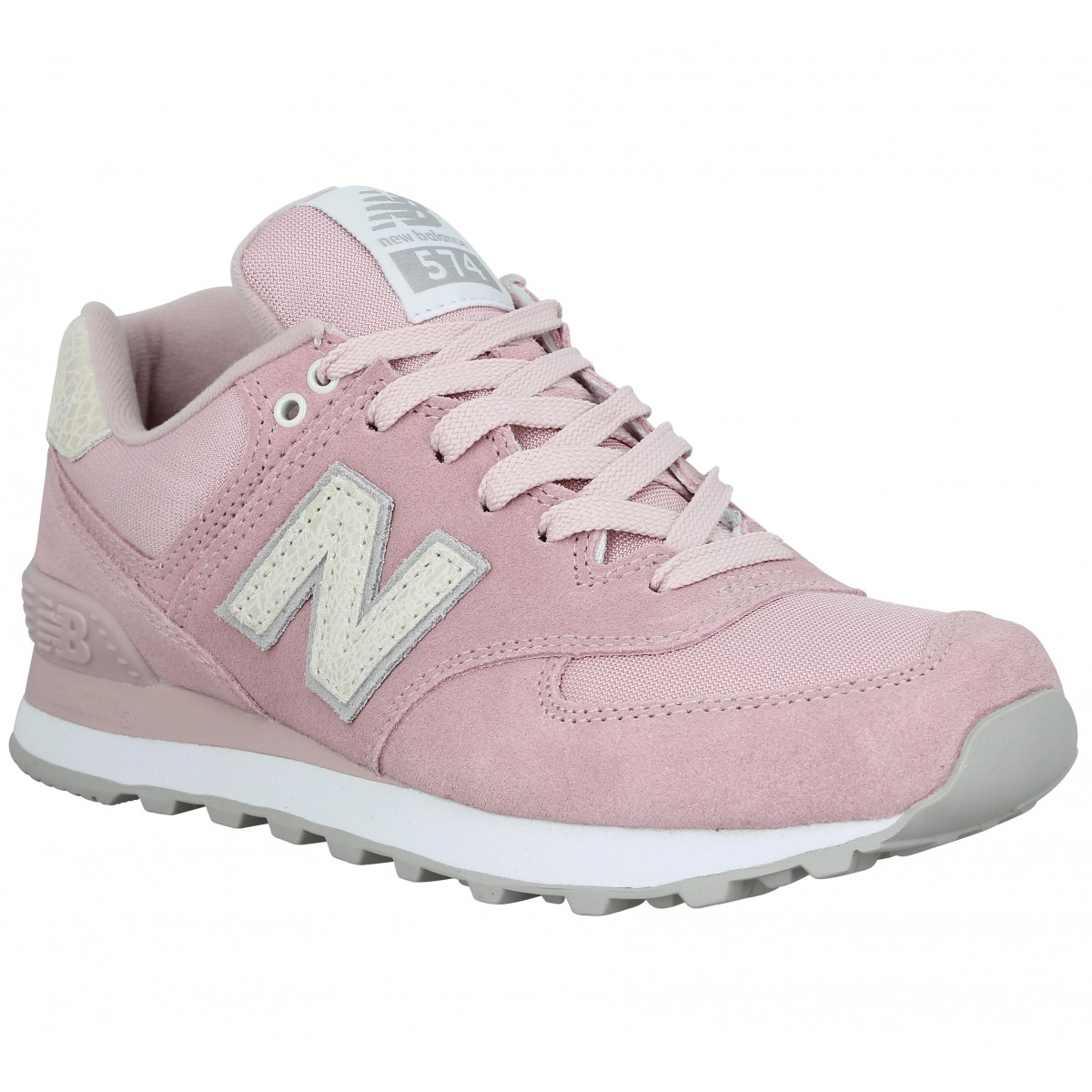 Baskets NEW BALANCE 574 velours toile Femme Pink