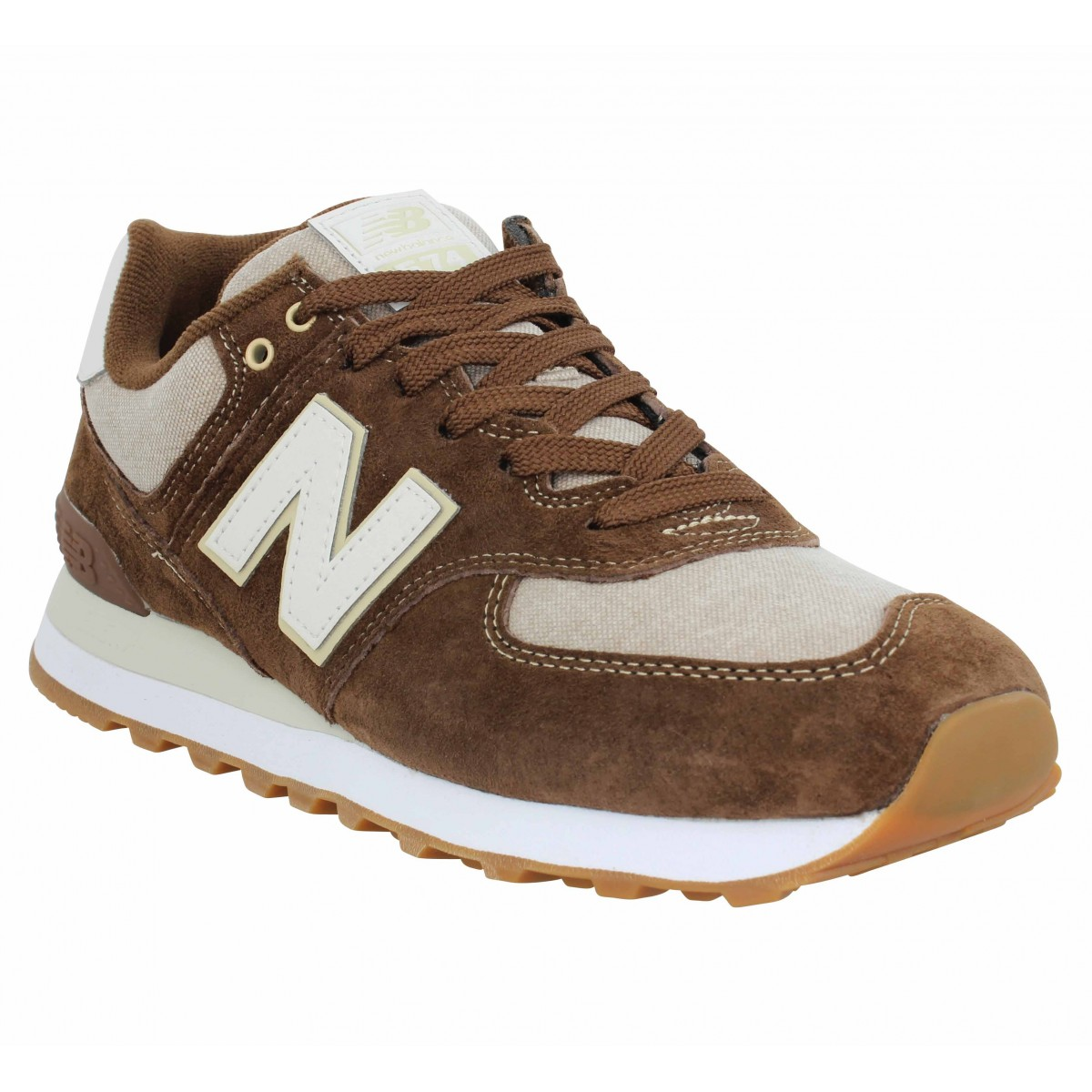 Baskets NEW BALANCE 574 velours toile Homme Marron