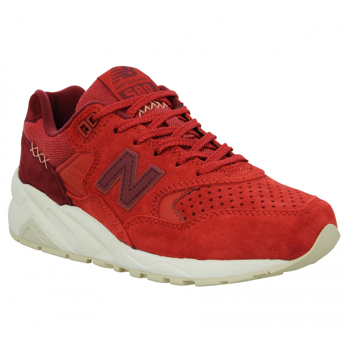 Baskets NEW BALANCE 580 velours toile Femme Red