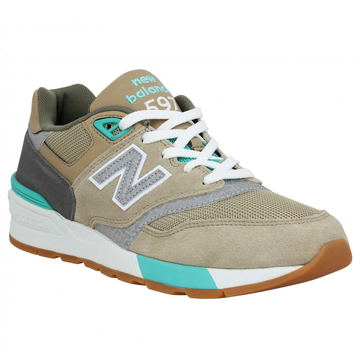 Baskets NEW BALANCE 597 velours Homme Olive