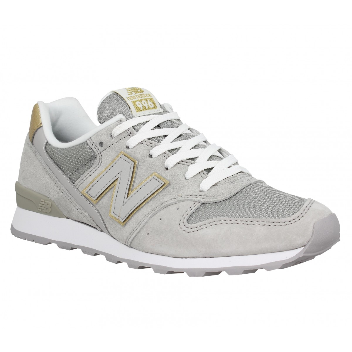 Baskets NEW BALANCE 996 velours + toile Femme Beige