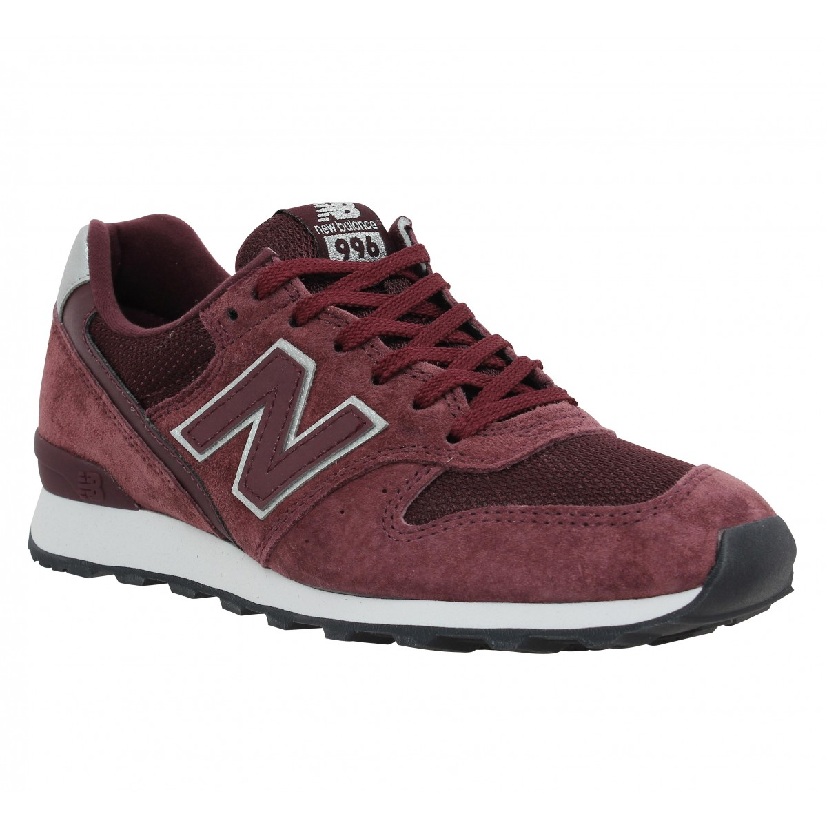 Baskets NEW BALANCE 996 velours + toile Femme Bordeaux