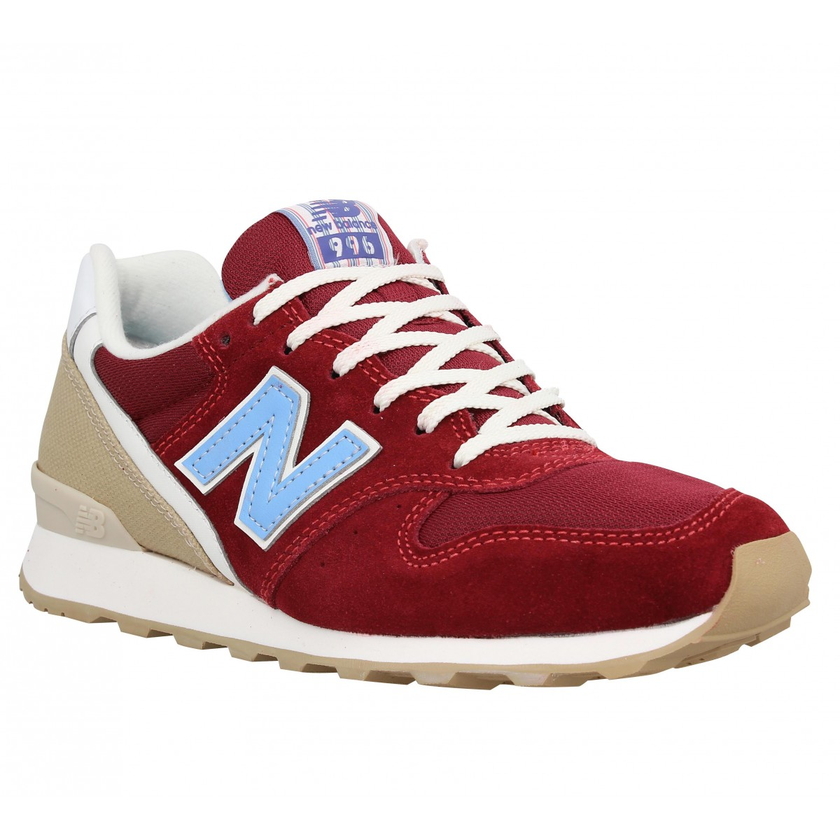 Baskets NEW BALANCE 996 velours + toile Femme Burgundy