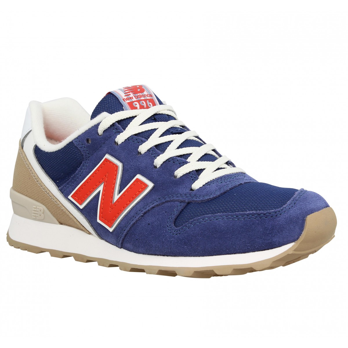 Baskets NEW BALANCE 996 velours + toile Femme Marine + Rouge