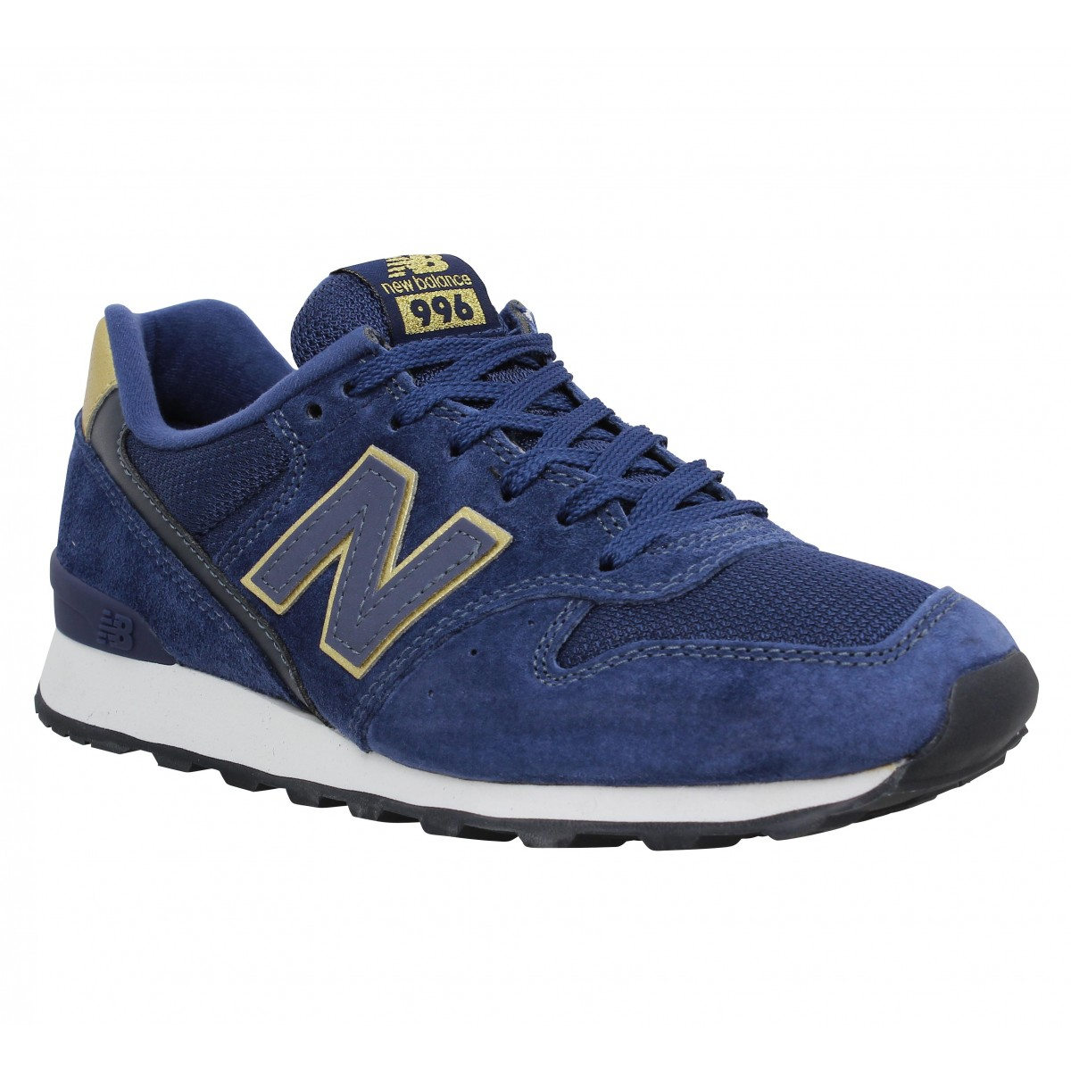 Baskets NEW BALANCE 996 velours + toile Femme Navy Or