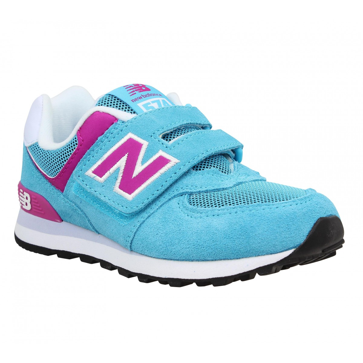 Baskets NEW BALANCE K574 velours + toile Enfant Bleu + Pink