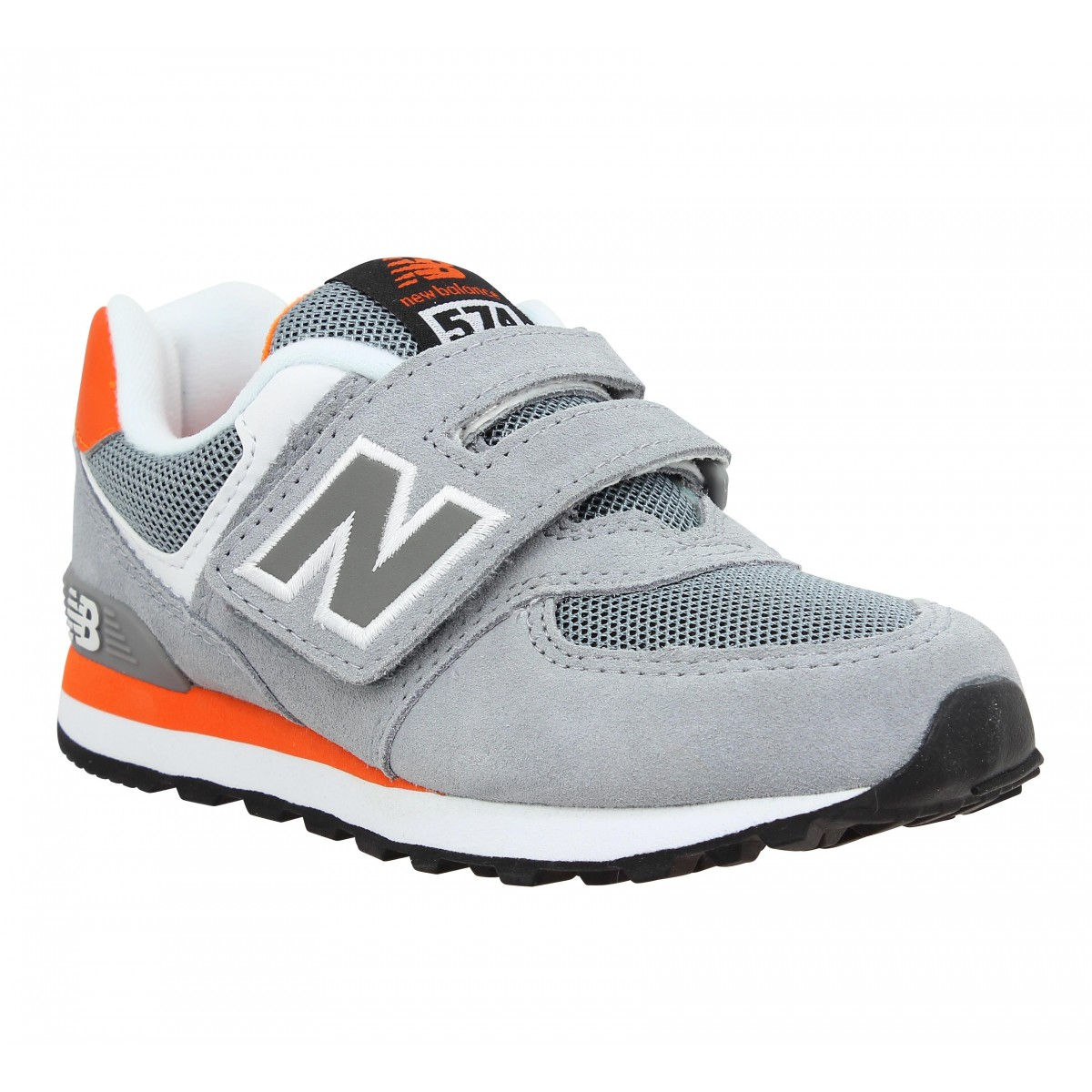 Baskets NEW BALANCE K574 velours + toile Enfant Gris + Orange
