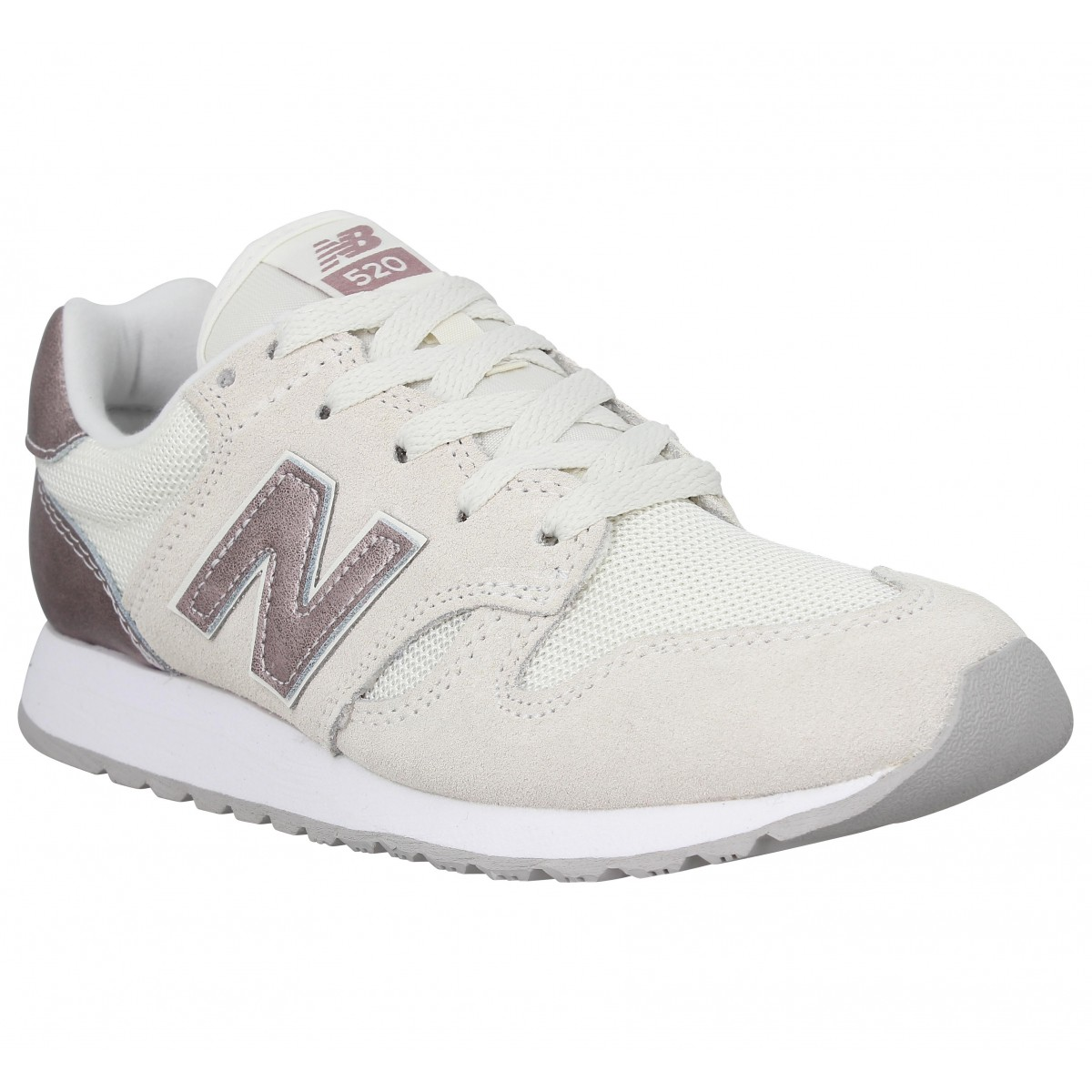 Baskets NEW BALANCE WL 520 velours toile Femme Salt