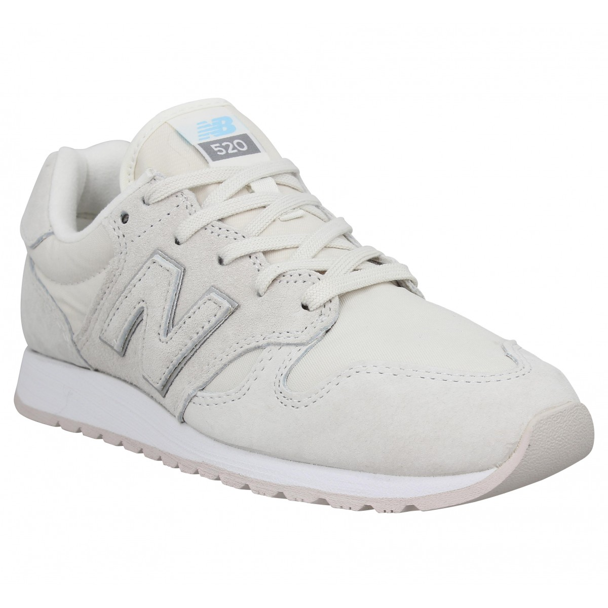 Baskets NEW BALANCE WL 520 velours toile Femme White