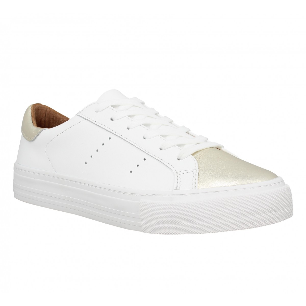 Baskets NO NAME Arcade sneaker cuir Femme Blanc + Gold