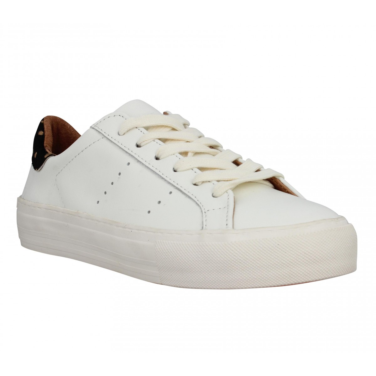 Baskets NO NAME Arcade sneaker cuir Femme Creme + Dots