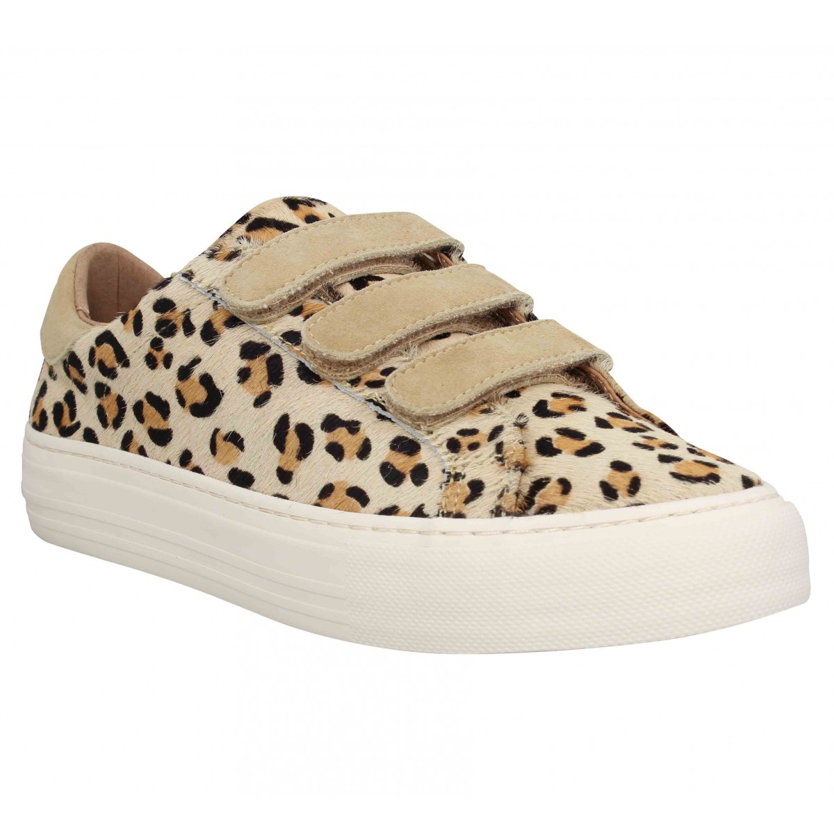 Baskets NO NAME Arcade Straps leopard Femme Sand