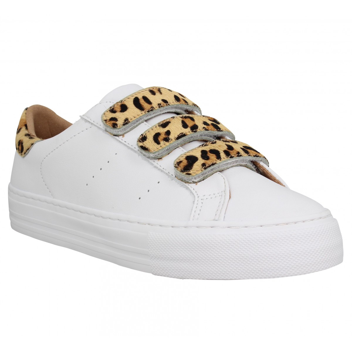Baskets NO NAME Arcade Straps nappa Femme Blanc Leopard