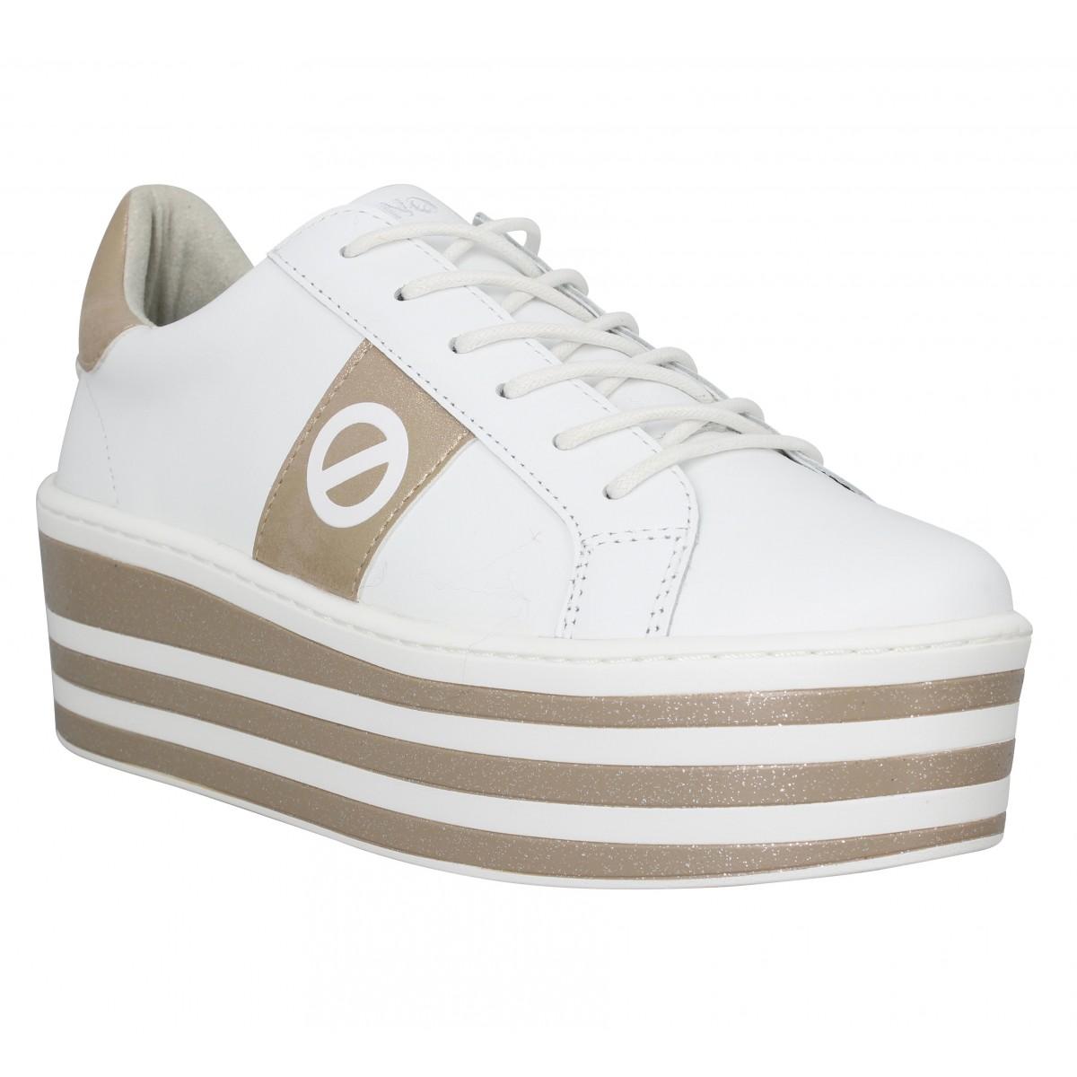 Baskets NO NAME Boost Sneaker cuir Femme Blanc