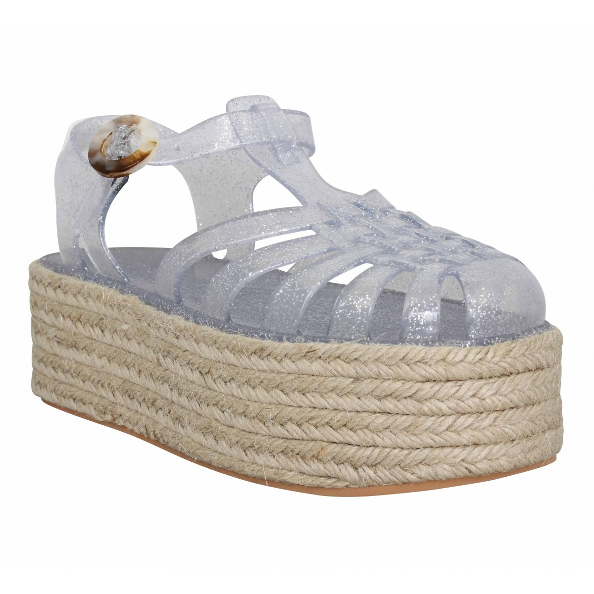 Sandales talons NO NAME X MEDUSE Calypso Meduse jelly Femme Silver