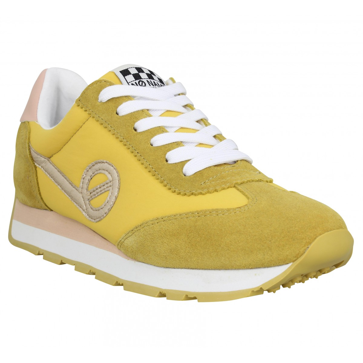 Baskets NO NAME City Run Jogger velours toile Femme Jaune