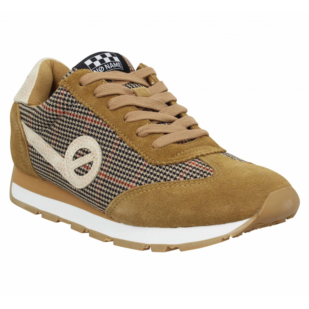 Baskets NO NAME City Run Jogger velours willow Femme Tabac Chestnut