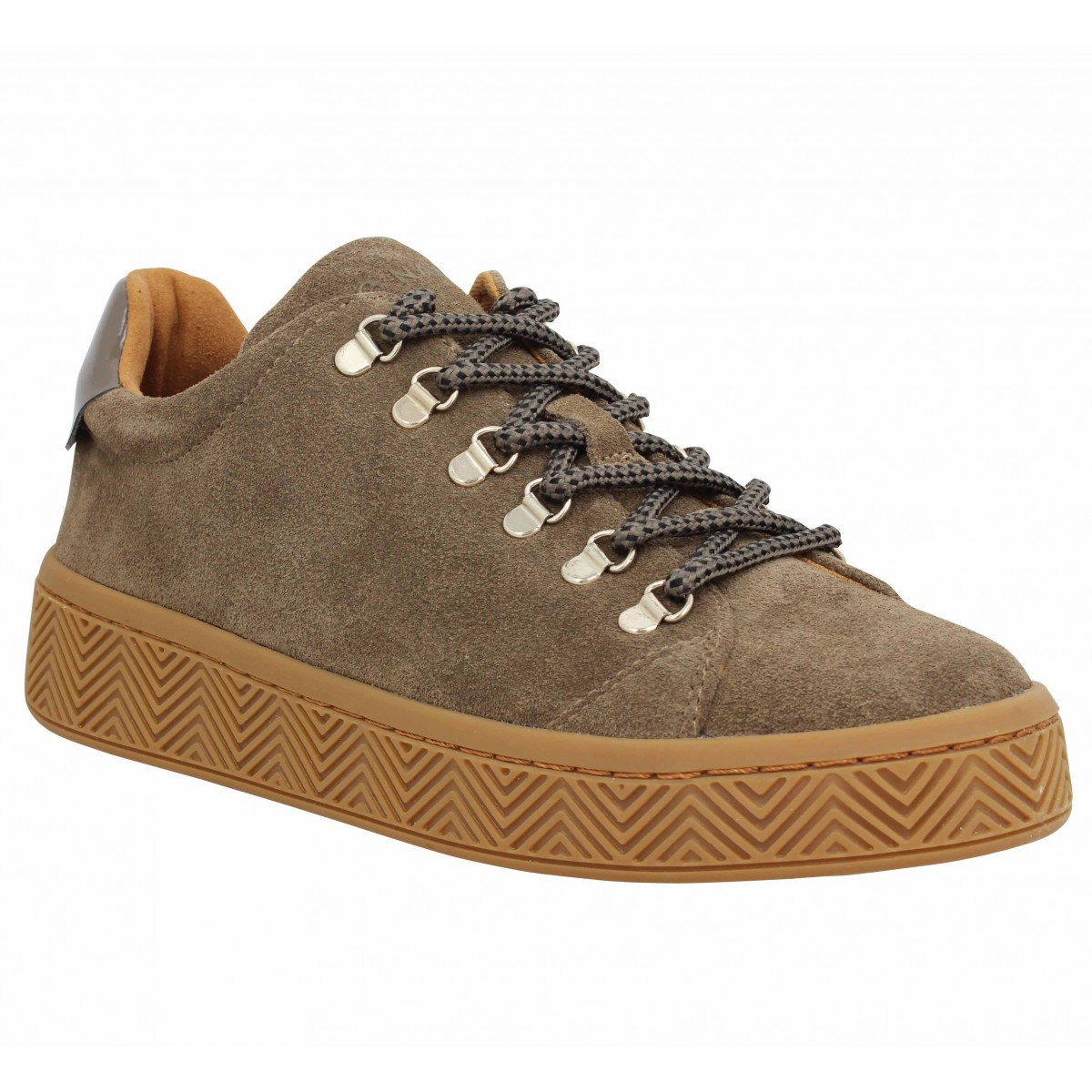 Baskets NO NAME Ginger Sneaker suede Femme Taupe