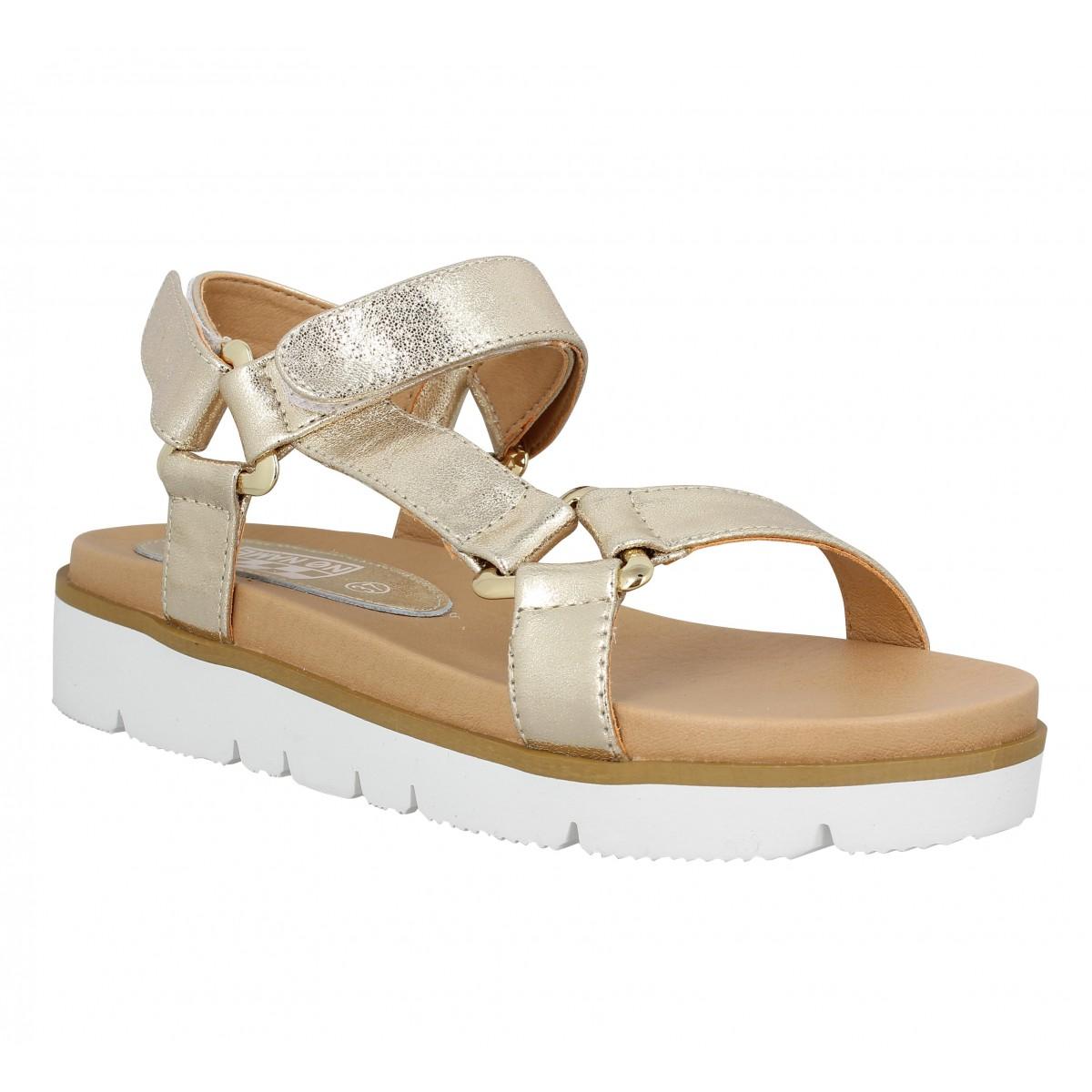Nu-pieds NO NAME Joy Sandal cuir Femme Gold