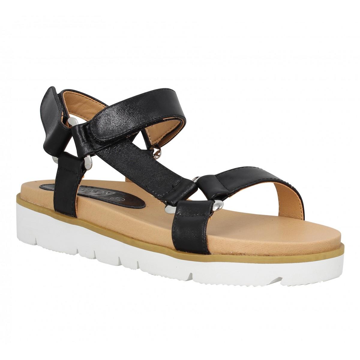 Nu-pieds NO NAME Joy Sandal cuir Femme Noir