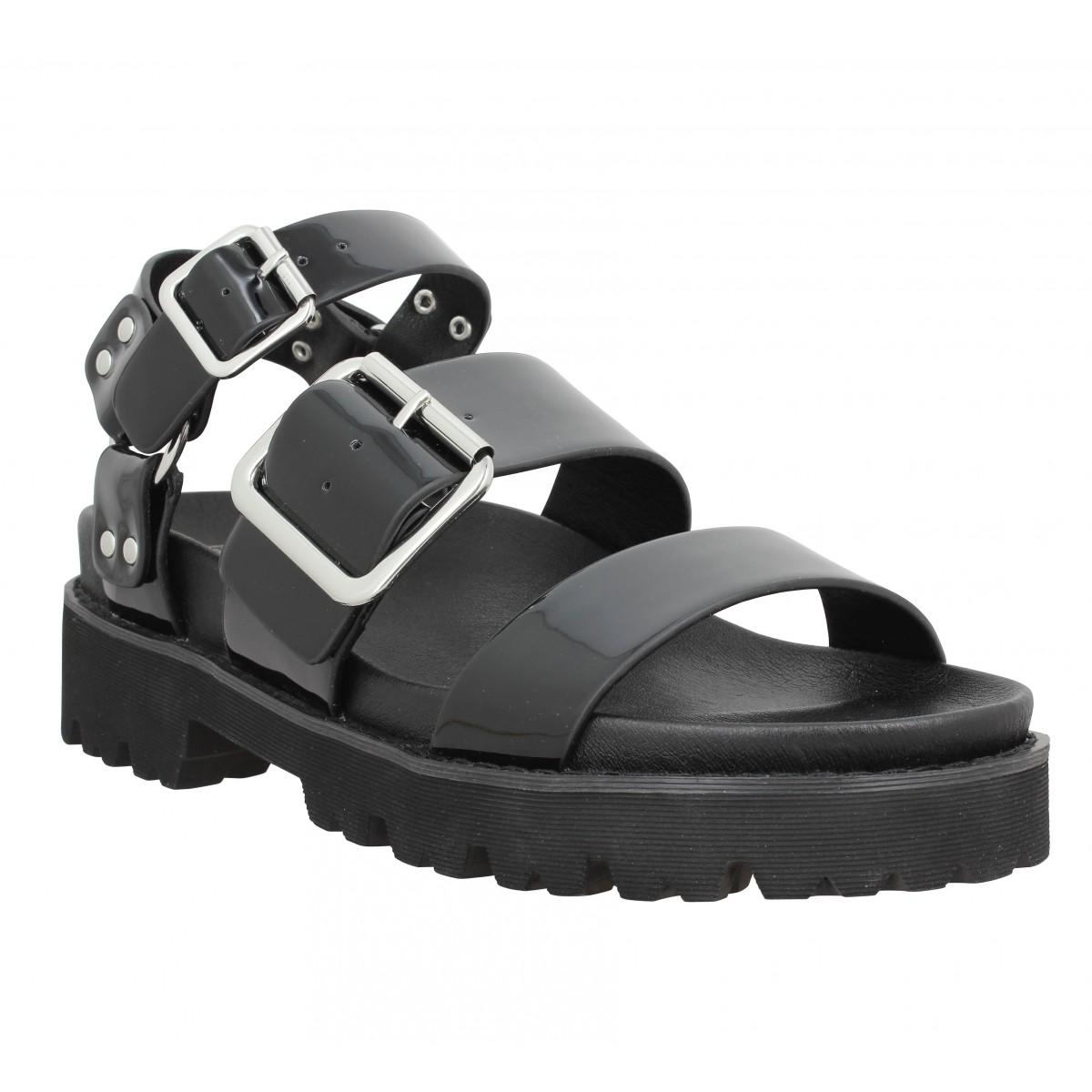 Nu-pieds NO NAME June Ankle patent Femme Noir