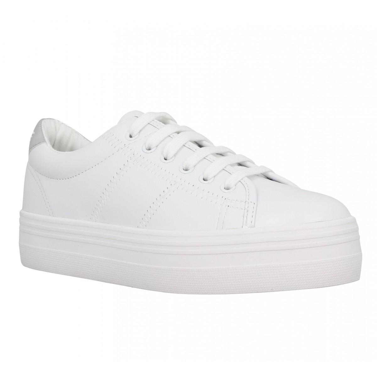 Compensées NO NAME Plato Sneaker cuir Femme Blanc