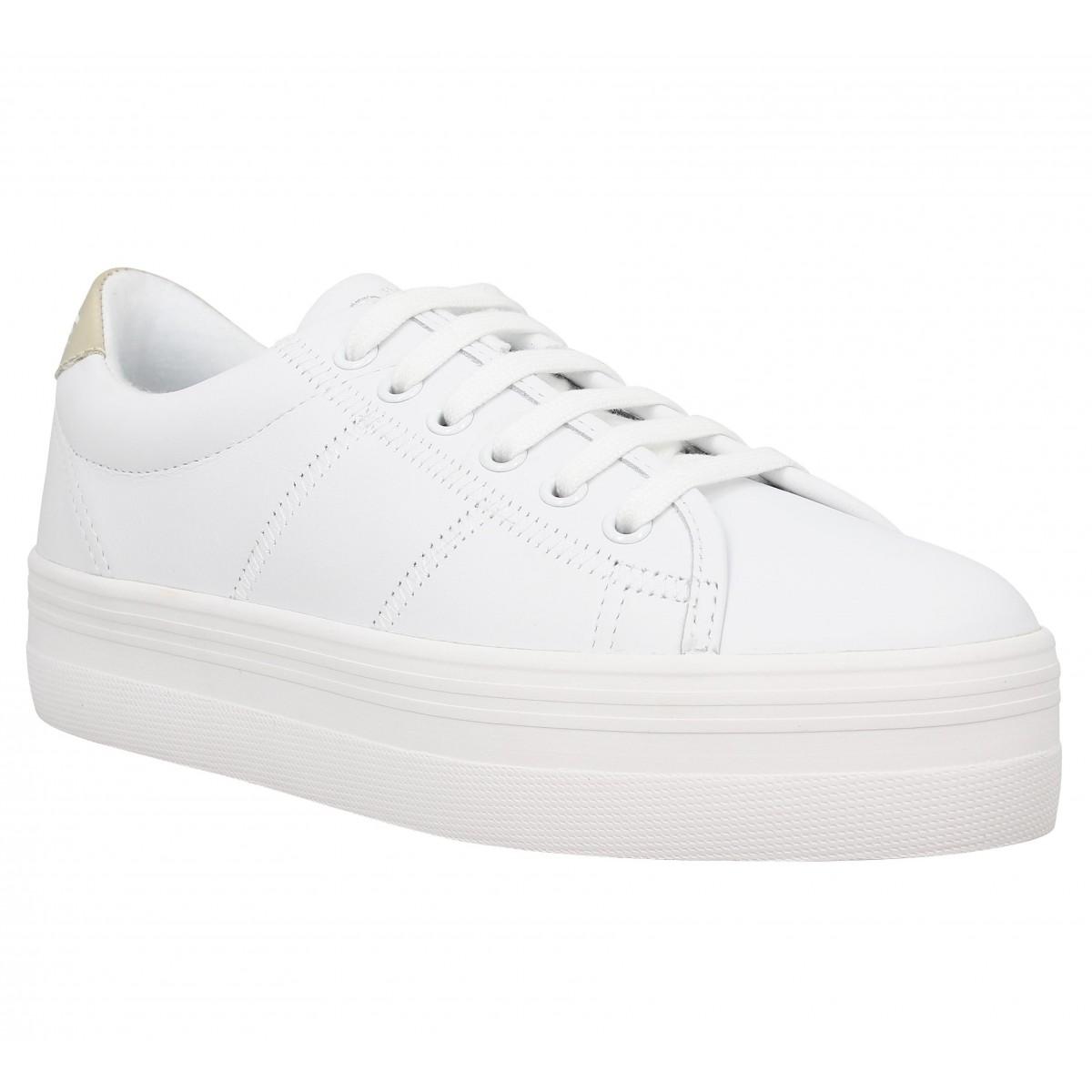 Compensées NO NAME Plato Sneaker cuir Femme Blanc Or