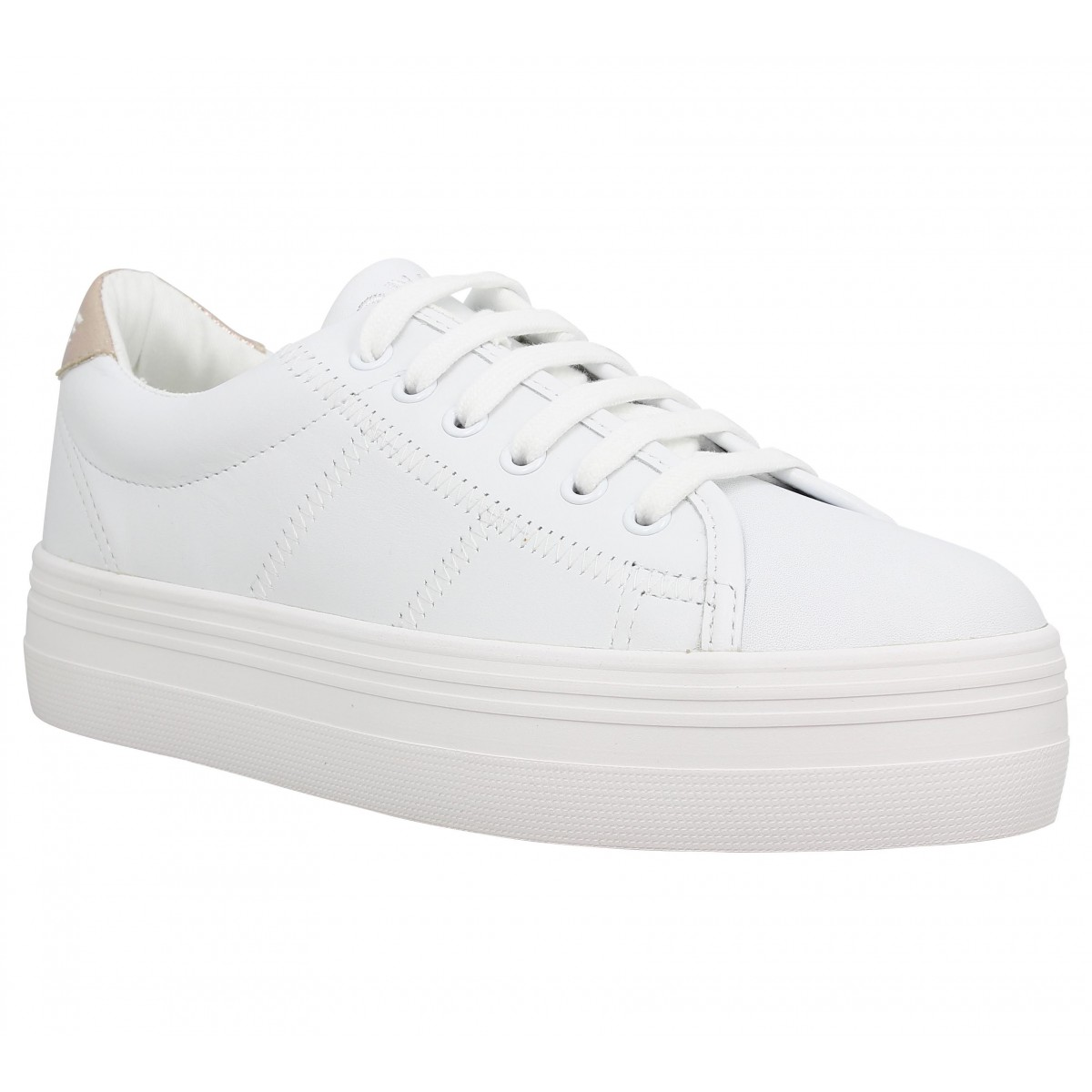 Compensées NO NAME Plato Sneaker cuir Femme White + Gold