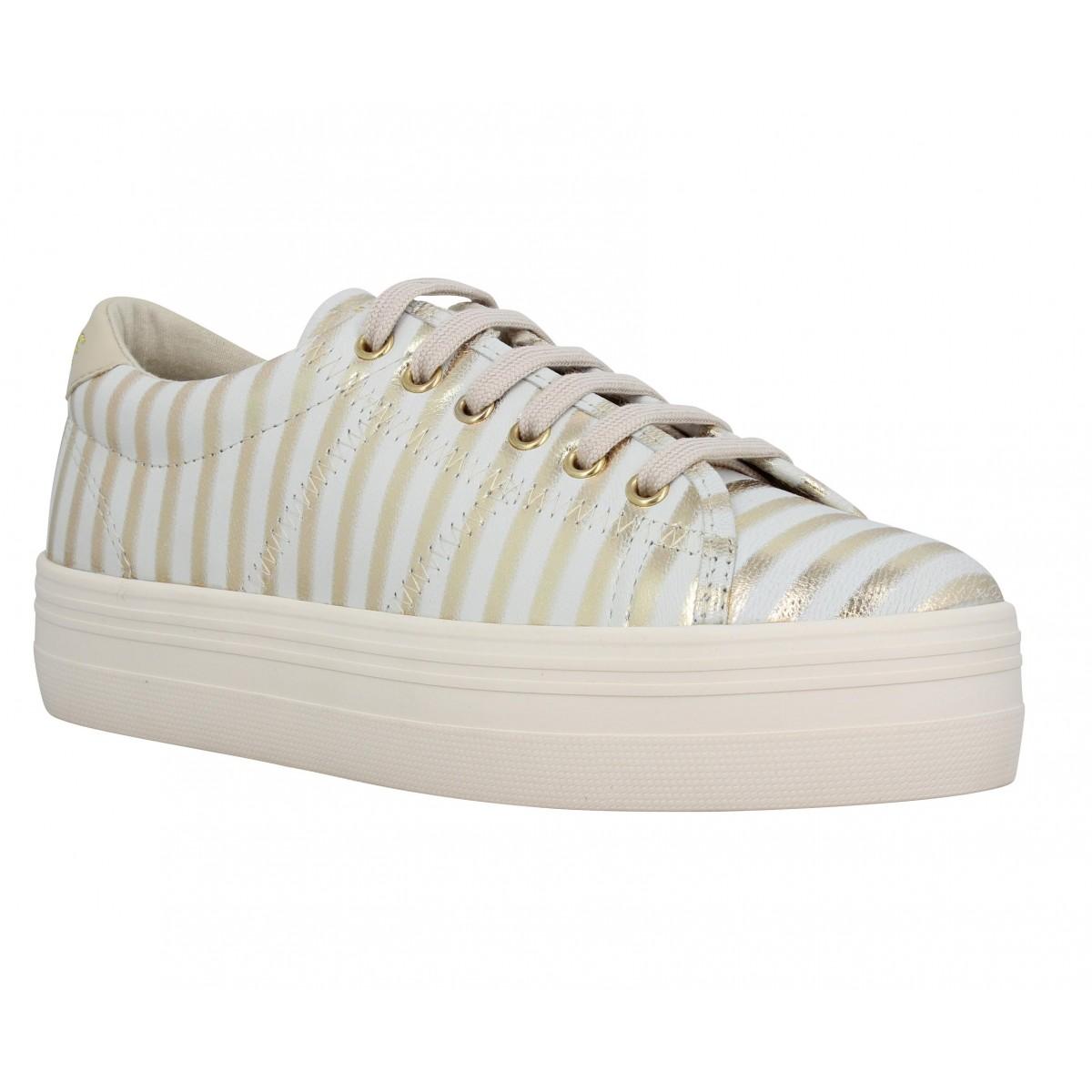Compensées NO NAME Plato Sneaker cuir Glim Femme Gold