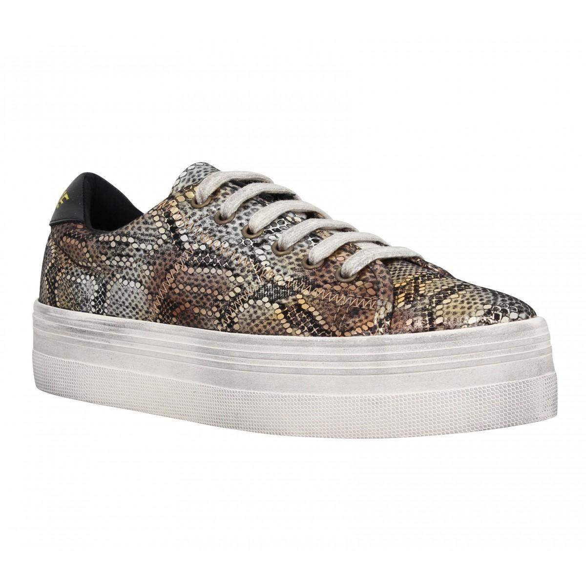 Compensées NO NAME Plato Sneaker shiny snake Femme Bronze