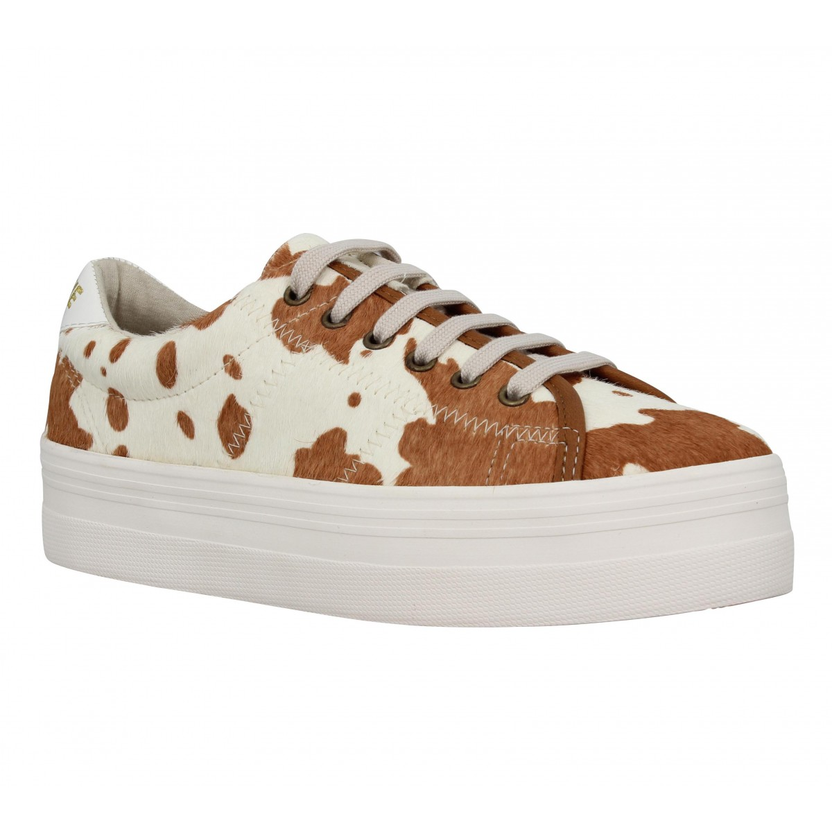 Compensées NO NAME Plato Sneaker pony cow Femme Brown